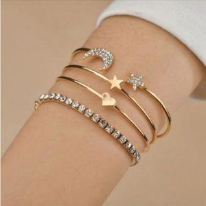 Jewelry - GOLD 4 Bracelets Set Bangle Cuff Crystal Charms
